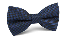 Navy Blue Basket Weave Checkered Bow Tie