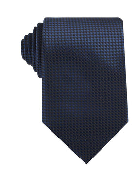 Navy Blue Basket Weave Checkered Necktie