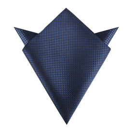 Navy Blue Basket Weave Checkered Pocket Square
