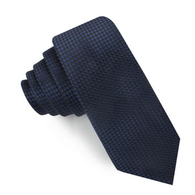Navy Blue Basket Weave Checkered Skinny Tie
