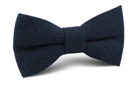 Navy Blue Basket Weave Linen Bow Tie