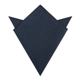 Navy Blue Basket Weave Linen Pocket Square