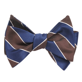 Navy Blue Black White Diagonal - Bow Tie (Untied)