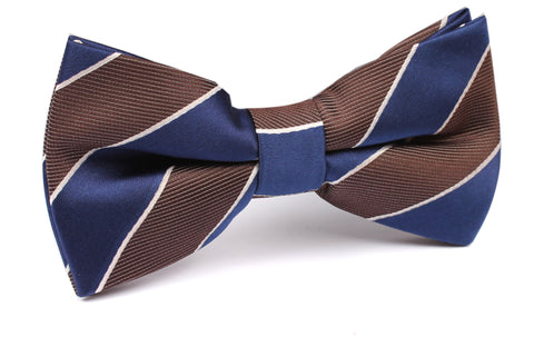 Navy Blue Black White Diagonal - Bow Tie