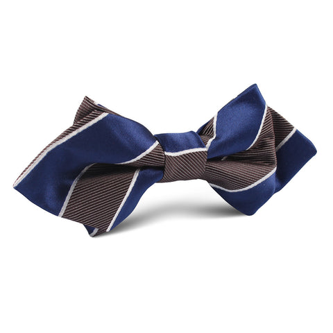 Navy Blue Black White Diagonal Diamond Bow Tie
