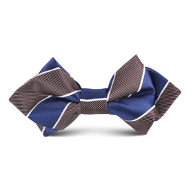 Navy Blue Black White Diagonal Kids Diamond Bow Tie