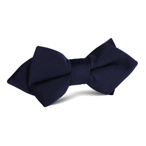 Navy Blue Bond Diamond Velvet Bow Tie