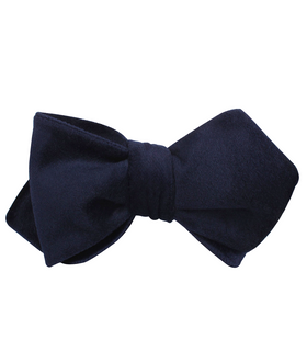 Navy Blue Bond Diamond Velvet Self Bow Tie