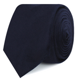 Navy Blue Bond Velvet Skinny Tie Roll
