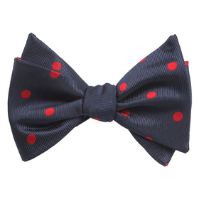 Navy Blue Bow Tie Untied with Red Polka Dots
