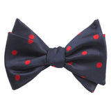 Navy Blue Bow Tie Untied with Red Polka Dots Self tied knot by OTAA