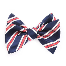 Navy Blue Bow Tie Untied with Red Stripes