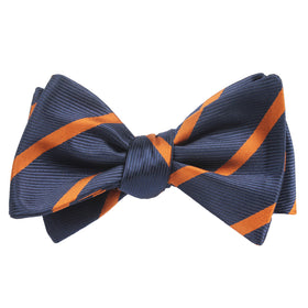 Navy Blue Bow Tie Untied with Striped Brown