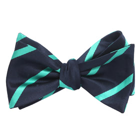 Navy Blue Bow Tie Untied with Striped Light Blue