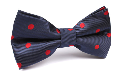 Navy Blue Bow Tie with Red Polka Dots