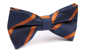 Navy Blue Bow Tie with Striped Brown