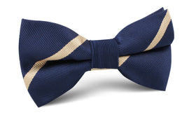 Navy Blue Champagne Gold Striped Bow Tie