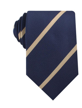 Navy Blue Champagne Gold Striped Necktie