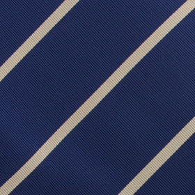 Navy Blue Champagne Gold Striped Pocket Square