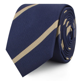 Navy Blue Champagne Gold Striped Skinny Tie