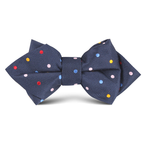 Navy Blue Confetti Polkadot Kids Diamond Bow Tie
