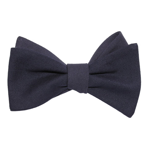Navy Blue Cotton Self Tie Bow Tie