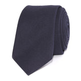 Navy Blue Cotton Skinny Tie Front