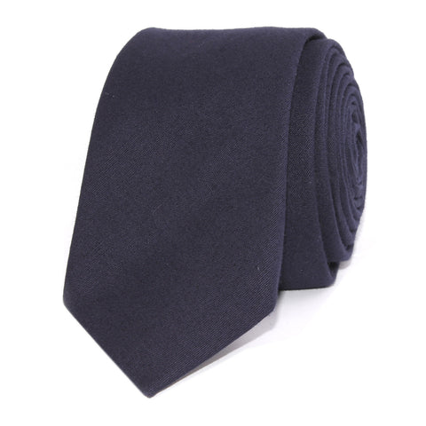 Navy Blue Cotton Skinny Tie