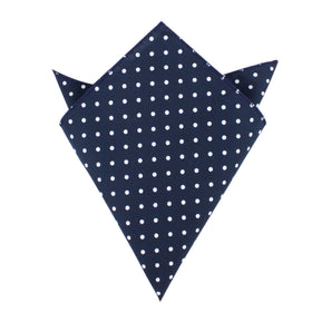 Navy Blue Cotton with Mini White Polka Dots Pocket Square