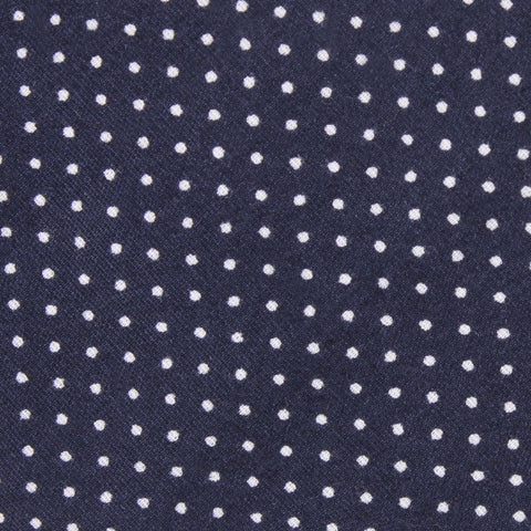 Navy Blue Cotton with White Mini Polka Dots Bow Tie