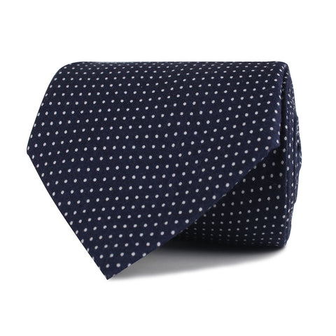 Navy Blue Cotton with White Mini Polka Dots Necktie