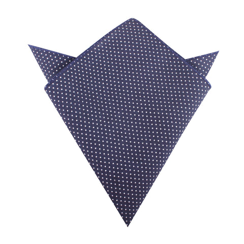 Navy Blue Cotton with White Mini Polka Dots Pocket Square