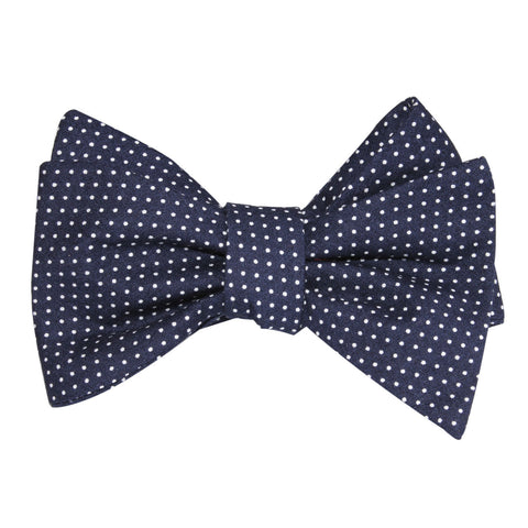 Navy Blue Cotton with White Mini Polka Dots Self Tie Bow Tie