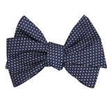 Navy Blue Cotton with White Mini Polka Dots Self Tie Bow Tie 2