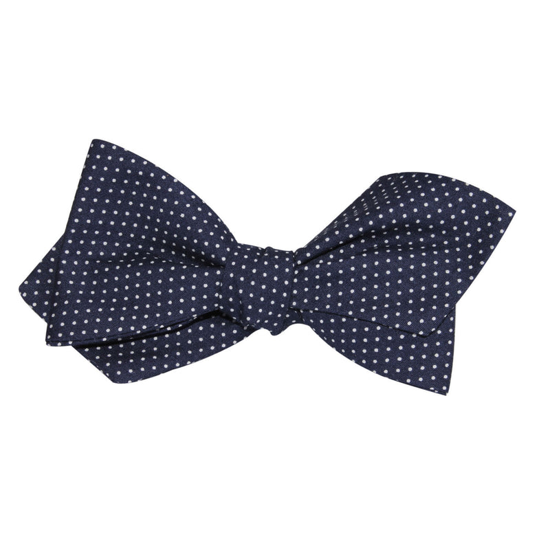 b1d886a426e0 ... Navy Blue Cotton with White Mini Polka Dots Self Tie Diamond Tip Bow Tie  3 ...