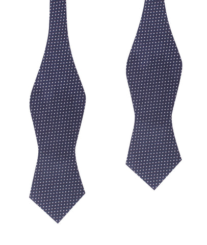 Navy Blue Cotton with White Mini Polka Dots Self Tie Diamond Tip Bow Tie