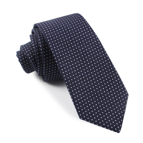 Navy Blue Cotton with White Mini Polka Dots Skinny Tie