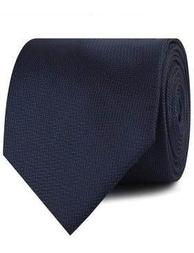 Navy Blue Diagonal Herringbone Necktie