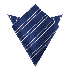 Navy Blue Double Stripe Pocket Square