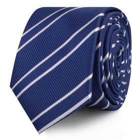 Navy Blue Double Stripe Skinny Tie