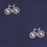 Navy Blue French Bicycle Fabric Skinny Tie M096