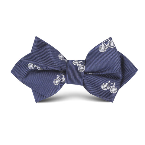 Navy Blue French Bicycle Kids Diamond Bow Tie