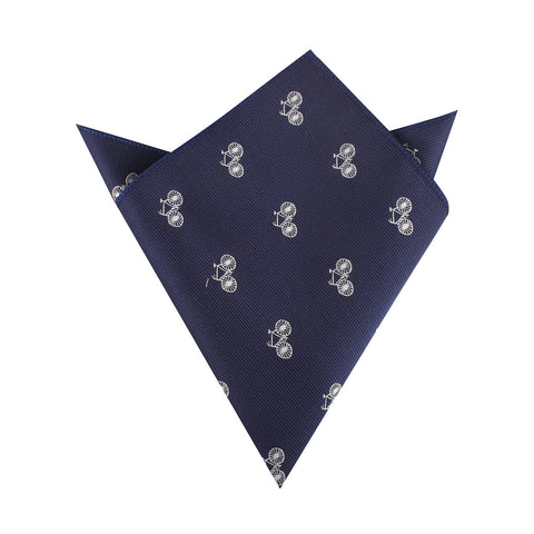 Navy Blue French Bicycle Pocket Square