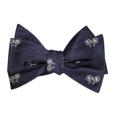 Navy Blue French Bicycle Self Tie Bow Tie
