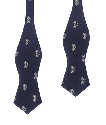 Navy Blue French Bicycle Self Tie Diamond Tip Bow Tie