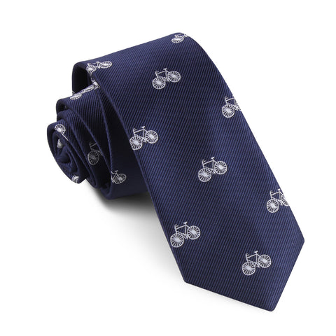 Navy Blue French Bicycle Skinny Tie