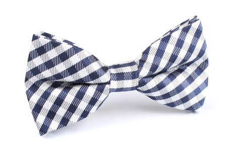 Navy Blue Gingham Bow Tie