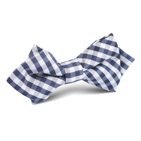 Navy Blue Gingham Diamond Bow Tie