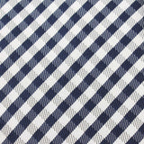 Navy Blue Gingham Fabric Self Tie Diamond Tip Bow TieX450