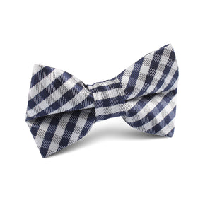 Navy Blue Gingham Kids Bow Tie